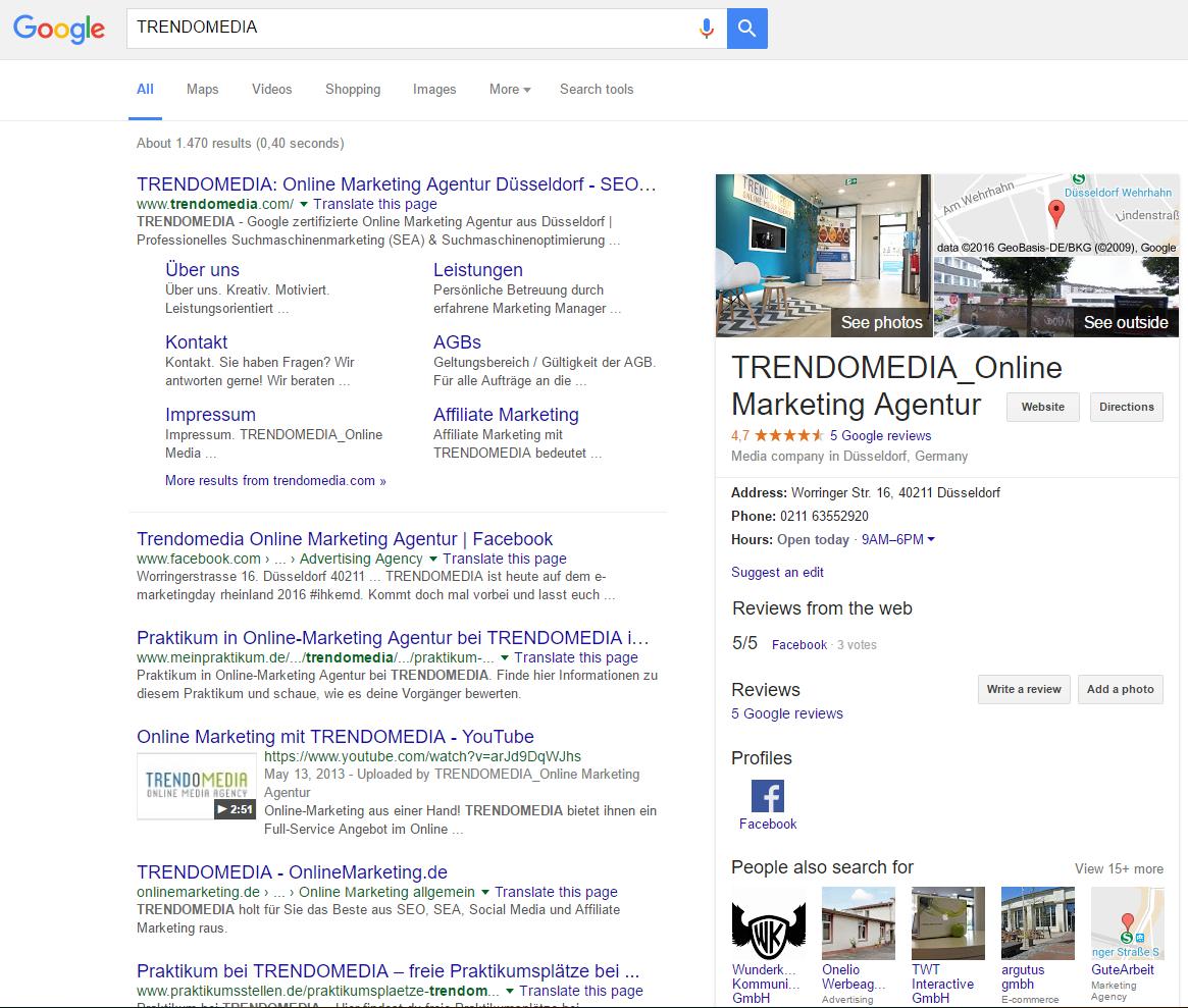 Suchmaschinenoptimierung (SEO) Screenshot